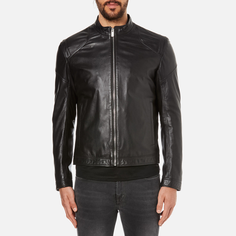 HUGO Men's Lesson Leather Biker Jacket - Black