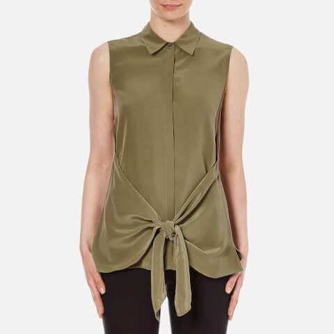 Theory Women's Zallane Summer Silk Sleeveless Shirt with Tie Front - Moss