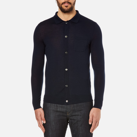 A.P.C. Men's Paolo Knitted Polo Shirt - Marine