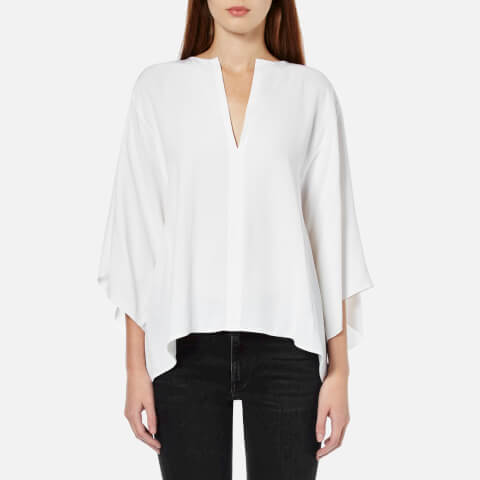Helmut Lang Women's Georgette Silk Square Shape Shirt - White