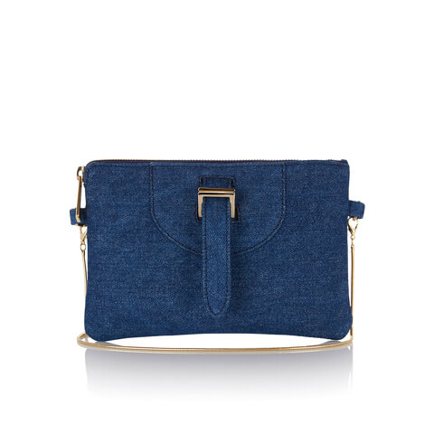 meli melo Women's Thela Clutch Bag With Chain Shoulder Strap - Blue Wash Denim