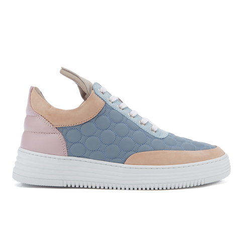 Filling Pieces Women's Quilted Low Top Trainers - Moon Pink/Blue