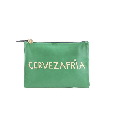 Clare V. Women's Flat Clutch Bag - Emerald Nappa With Blush Cervezafria
