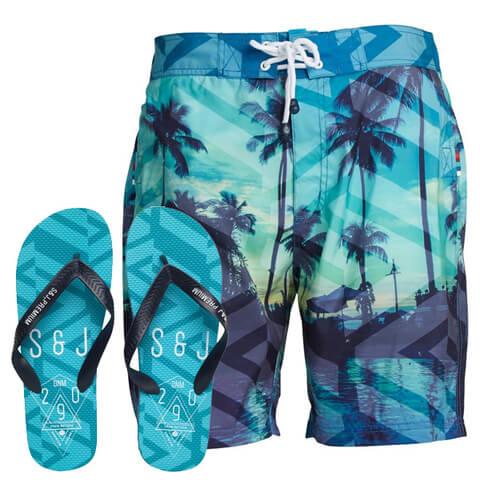 Smith & Jones Men's Onshore Swim Shorts & Flip Flops - Peacock Blue