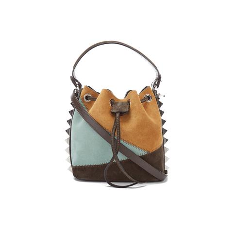 SALAR Women's Tala Small Edges Bucket Bag - Tan/Multi