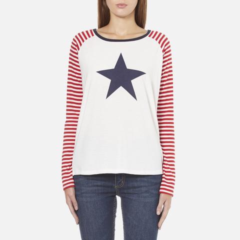 Maison Scotch Women's Long Sleeve Baseball T-Shirt with Cool Artworks - White