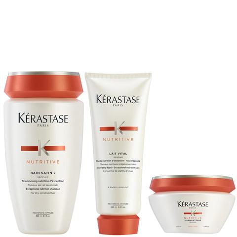 Kérastase Nutritive Lot Bain Satin 2 (250ml), Lait Vital (200ml) & Masque Intense Cheveux Epais (200ml)
