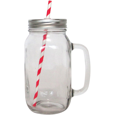 Cookut Set of 2 Customisable Mason Jars (includes 10 Straws)
