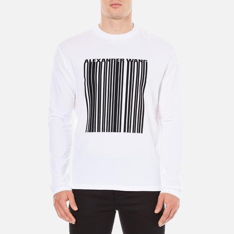 Alexander Wang Men's Barcode Logo Long Sleeve T-Shirt - White