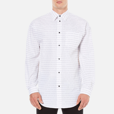 Alexander Wang Men's Relaxed Fit Casual Shirt with Label - White