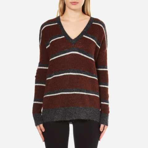 Gestuz Women's Obi Knitted Pullover With Striped Colours - Burnt Henna