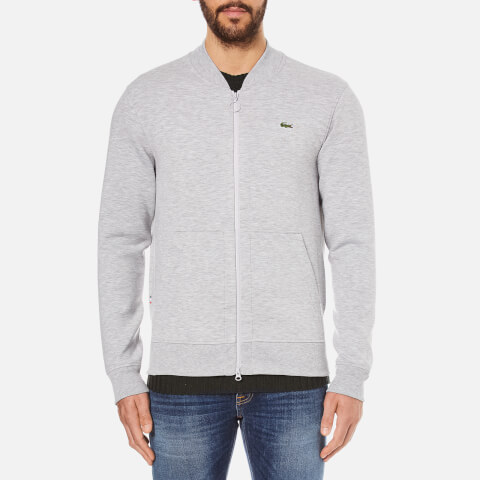 Lacoste L!ve Men's Full Zip Sweatshirt with Bomber Collar - Paladium Chine