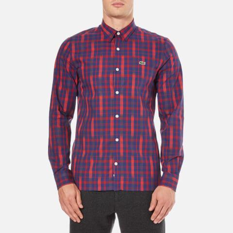 Lacoste L!ve Men's Printed Long Sleeve Shirt - Versuvius/Jazz