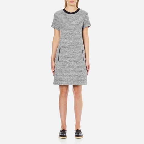 Karl Lagerfeld Women's Bonded Tweed Jersey Dress - Grey Melange
