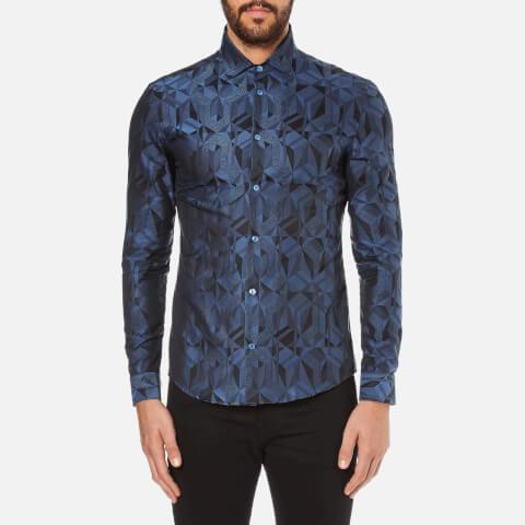 Versace Collection Men's All Over Pattern Long Sleeve Shirt - Foschia