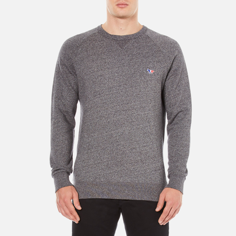 Maison Kitsuné Men's Tricolor Patch Sweatshirt - Grey Melange