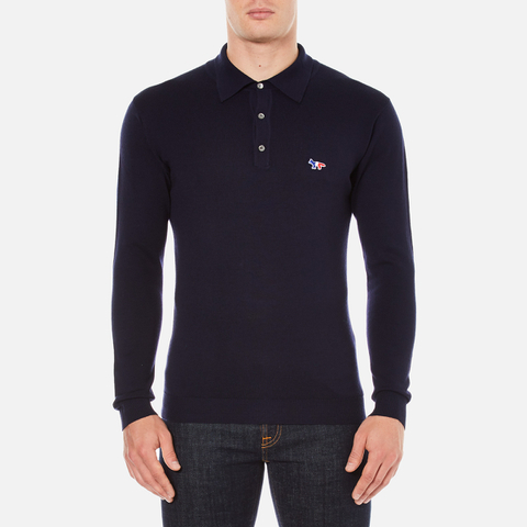 Maison Kitsuné Men's Virgin Wool Polo Shirt - Navy