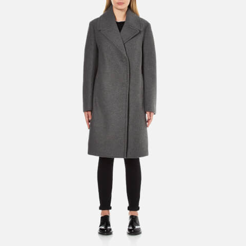 DKNY Women's Long Sleeve Long Bonded Peacoat with Snap Closure - Flint