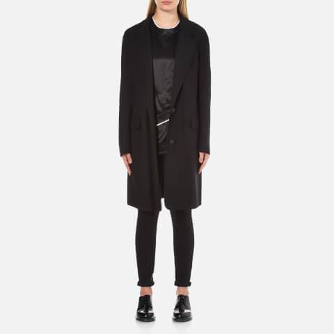 DKNY Women's Long Sleeve Notch Collar 2 Button Coat - Black