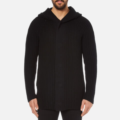 Helmut Lang Men's Wool Blend Heavy Rib Cardigan - Black