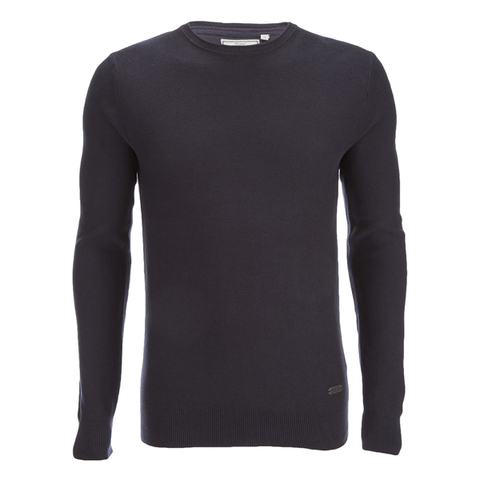 Brave Soul Men's Warren Roll Edge Jumper - Navy