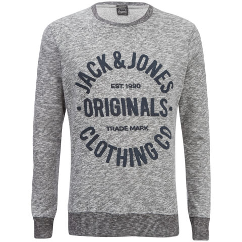 Jack & Jones Men's Originals Clemens Crew Neck Sweatshirt - Light Grey Melange