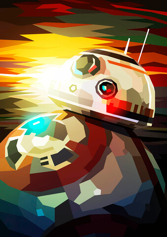 Star Wars BB8 Inspired Illustrative Fine Art Print - 16.5 x 11.7