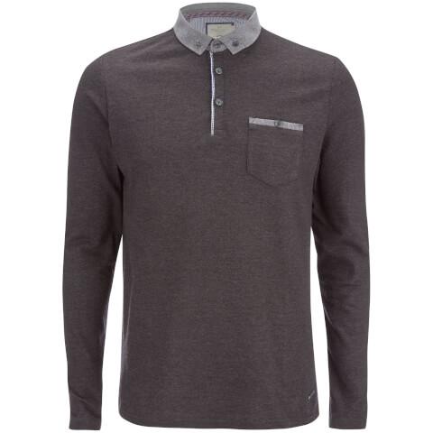 Brave Soul Men's Hera Long Sleeve Polo Shirt - Charcoal