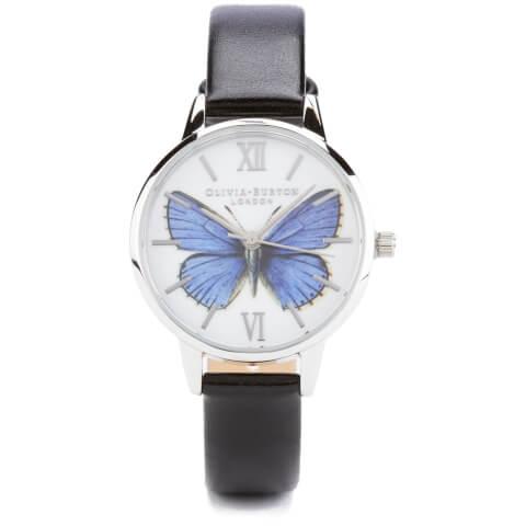 Olivia Burton Woodland Vegan Friendly Butterfly Watch - Black and Silver