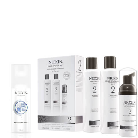 NIOXIN Hair System Kit 2 and Thickening Spray Bundle