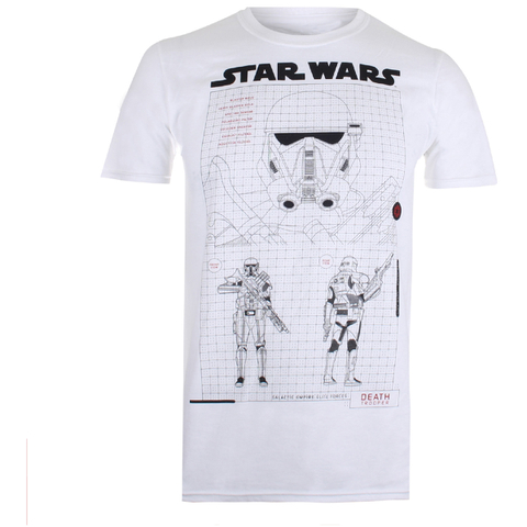 Star Wars Rogue One Men's Death Trooper Schematic T-Shirt - White