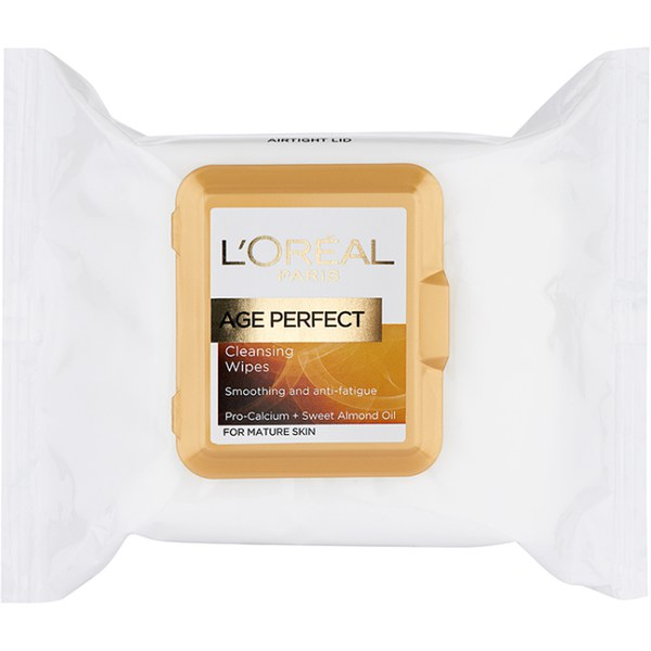 Toallitas limpiadoras para piel maduraAge Perfect Cleansing Wipes for Mature Skin de L'Oreal Paris (25 toallitas)