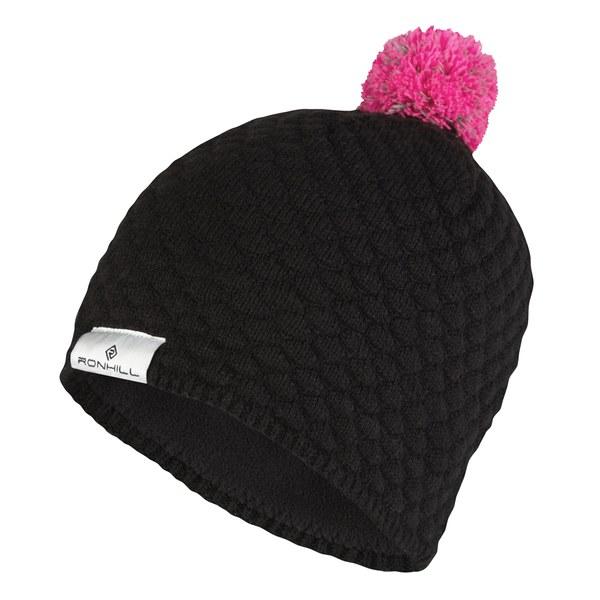 ronhill s vizion bobble hat black fluorescent pink