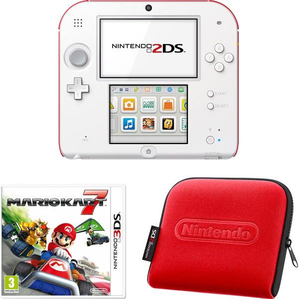 Nintendo 2ds white red console bundle includes mario kart 7 nintendo uk store - Console 3ds xl blanche avec mario kart 7 ...