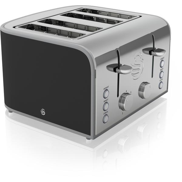 swan st17010bn 4 slice toaster black iwoot. Black Bedroom Furniture Sets. Home Design Ideas