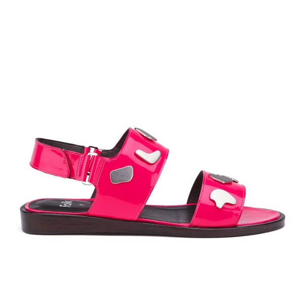 Folk Folk Women's Indra Two Part Patent Leather Sandals - Fluro Pink - UK 7