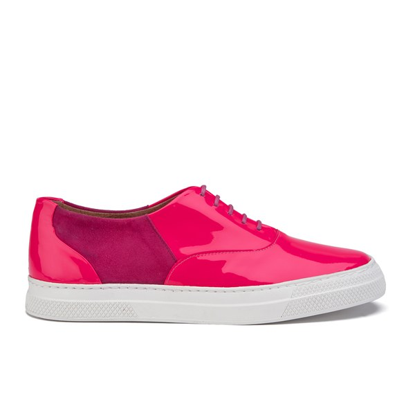 Folk Folk Women's Isa Patent Leather/Suede Plimsoll Trainers - Fluro Pink - UK 3