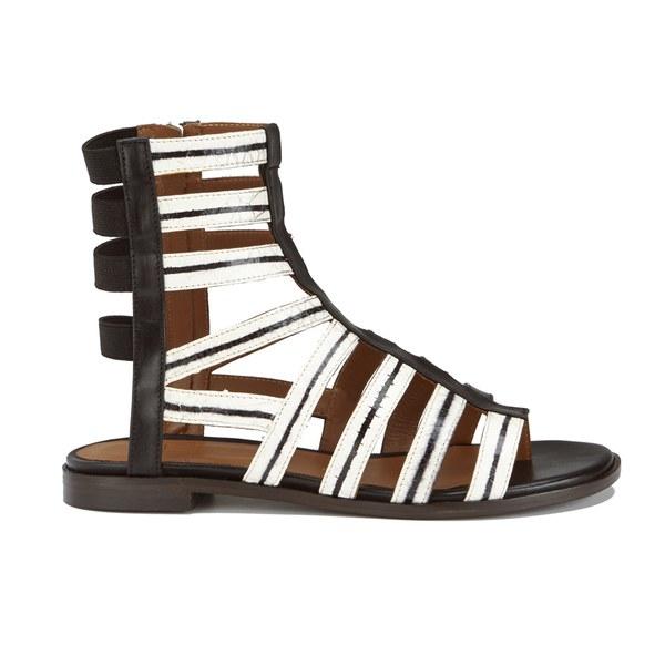Thakoon Addition Thakoon Addition Women's Taylor 2 Leather Stripe Gladiator Sandals - Black - UK 4