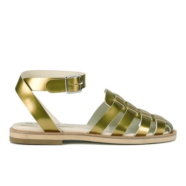 Jil Sander Navy Jil Sander Navy Women's Leather Strappy Ankle Strap Sandals - Gold - 7