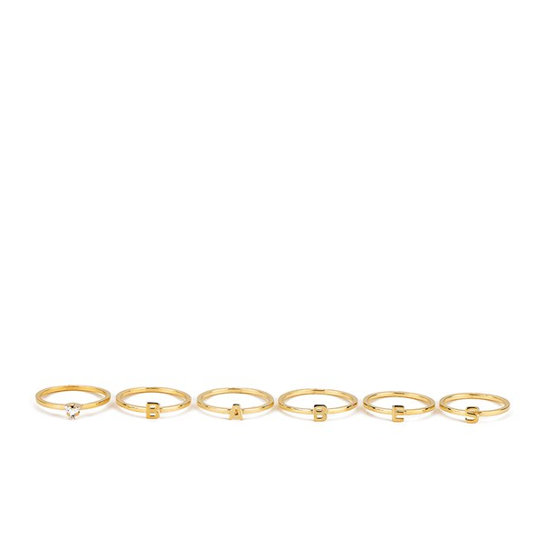 Maria Francesca Pepe Women's Babes Ring Set of 6 - Gold