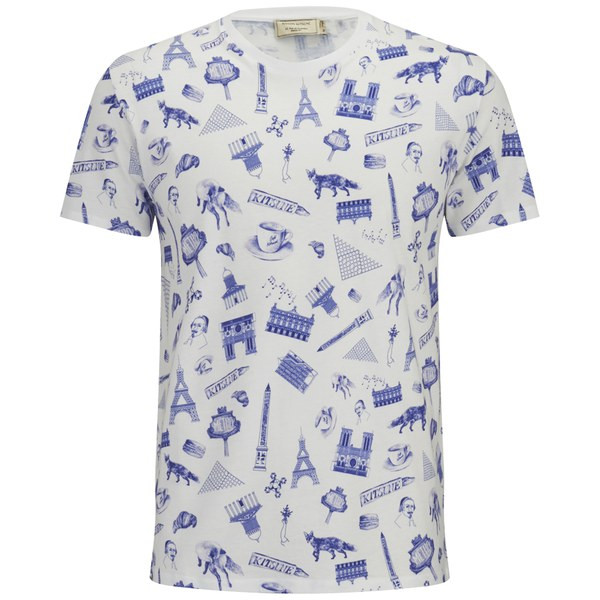 Maison kitsun men 39 s all over map print t shirt white for Books printed on t shirts