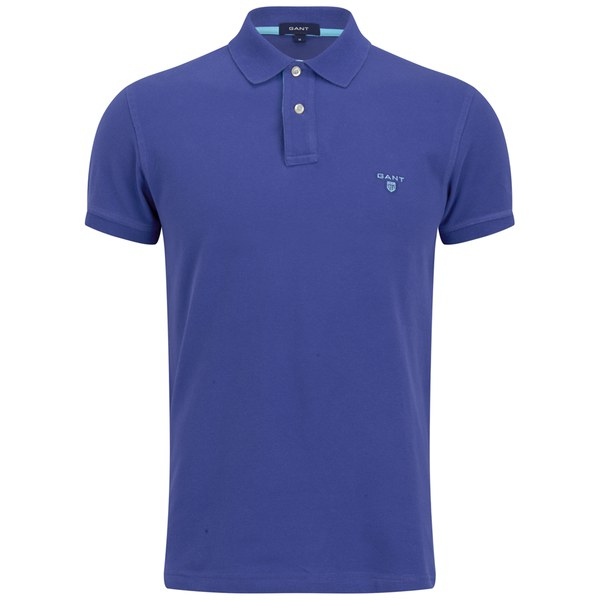Gant Men 39 S Contrast Collar Pique Polo Shirt Royal Blue