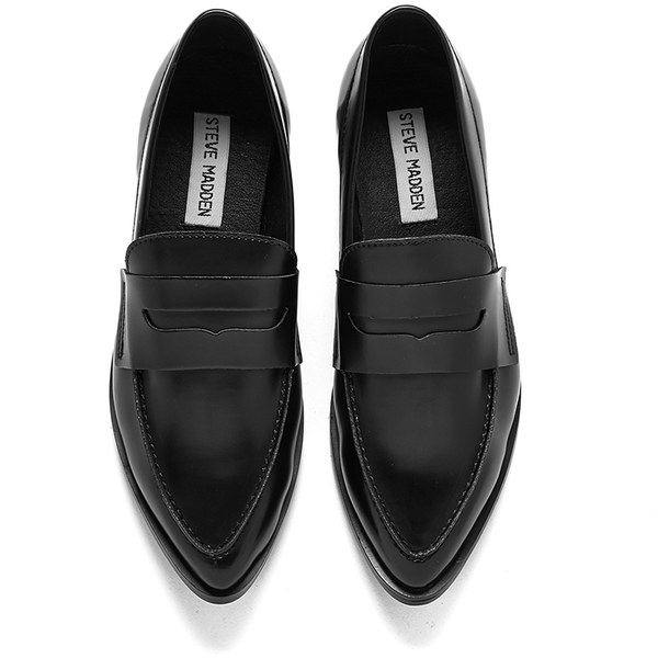 Steve Madden Women's Lindie Pointed Leather Penny Loafers - Black: Image 11
