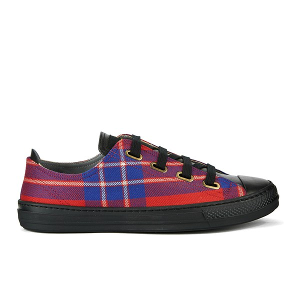 Vivienne Westwood Anglomania Vivienne Westwood Anglomania Women's Low Basket Tartan Fabric Luxury Trainers - Lyon Red - UK 7