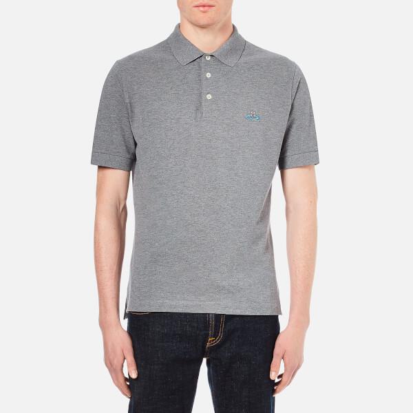 Vivienne Westwood MAN Men's Orb Logo Pique Polo Shirt - Grey