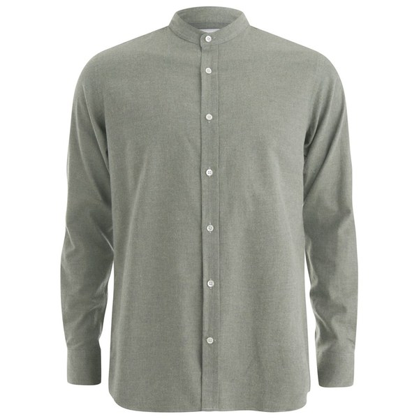 Private White VC Men's Grandad-Collar Shirt - Khaki