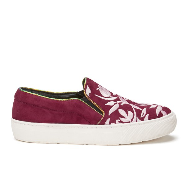 Markus Lupfer Markus Lupfer Women's Multi Printed Slip-On Trainers - Burgundy Suede/Pink Embroidery - UK 3