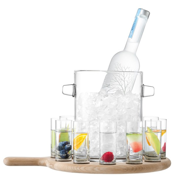 Paddle Vodka Serving Set and Oak Paddle - Clear (38.5cm)