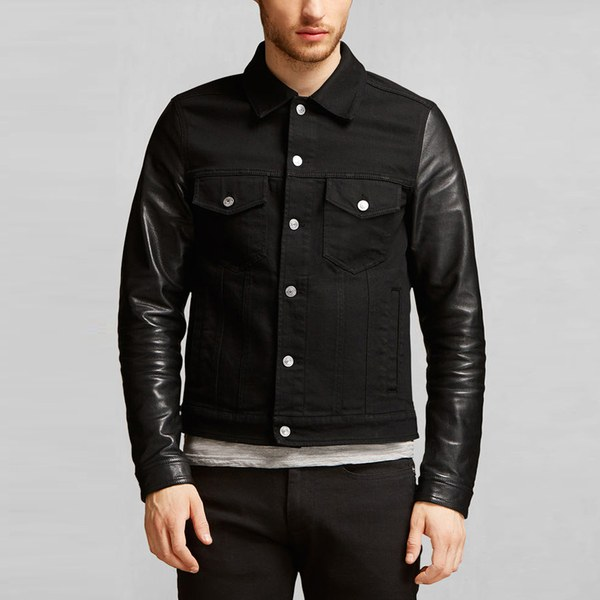 Jacket with leather sleeves men