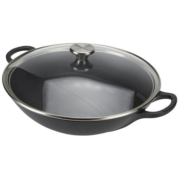 le creuset cast iron wok with glass lid 32cm satin black homeware. Black Bedroom Furniture Sets. Home Design Ideas